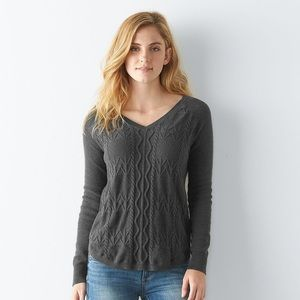 Sonoma Gray Cable Knit V-Neck Sweater